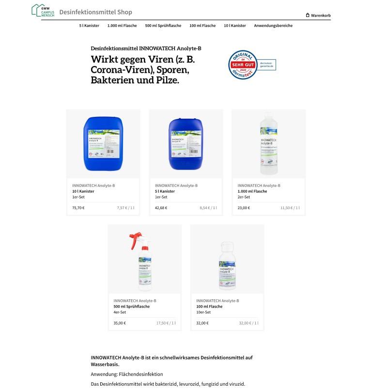 "Screenshot of ""GWW Desinfektionsmittel"""
